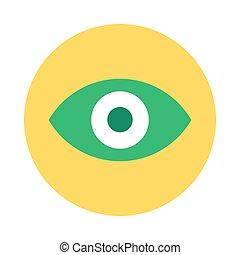 Eye Icon, Web App Button Flat Vector Design