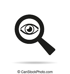 Eye icon with a magnifying glass on white background.