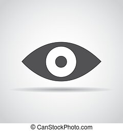 Eye icon with shadow on a gray background. Vector illustration