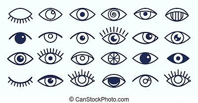 Eye icons collection - Eye icons. Outline eyelashes and eyes...