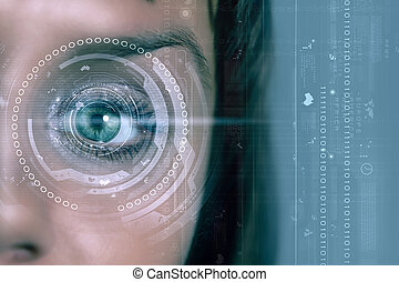 Eye identification - Close up of woman's eye scanned for...