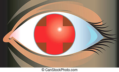 Eye	 - Illustration of eye with red cross in it