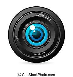 illustration of eye balls in camers lens on white background