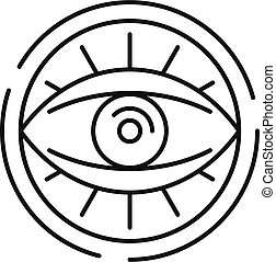 Eye in circle icon, outline style