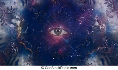 Eye in cosmic fractal. Spiritual composition