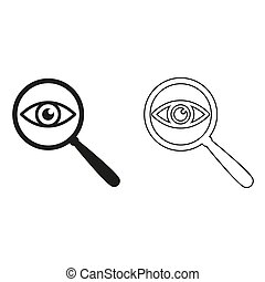 eye in magnification - green vector icon