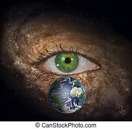 Eye in midst of Galaxy with Earth