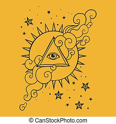 Eye in pyramid with sun and stars - Eye of Providence sign....