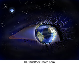 Eye in the sky - Surreal illustration of an earth eye in...