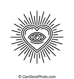 Eye Inside Heart Sign. Masonic Icon on White Background. ...