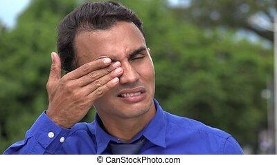 Eye Irritation Hispanic Business Man