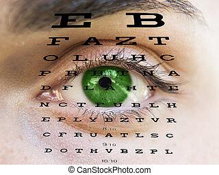 eye la carta, hombre, fa, prueba, visión