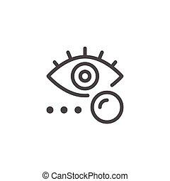 Eye lens line icon isolated on white. Vector illustration