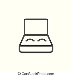 Eye lenses case line icon