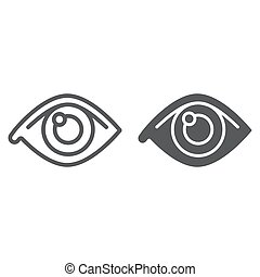 Eye line and glyph icon, anatomy and biology, ophthalmology sign, vector graphics, a linear pattern on a white background, eps 10.