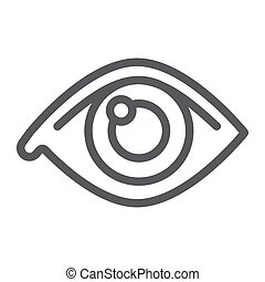 Eye line icon, anatomy and biology, ophthalmology sign, vector graphics, a linear pattern on a white background, eps 10.