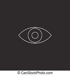 eye line icon, vision outline vector logo illustration, linear p