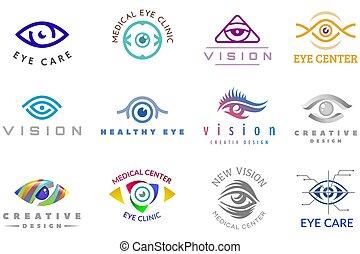 Eye logo vector eyeball icon eyes look vision and eyelashes logotype of medical care optic company supervision illustration isolated on white background