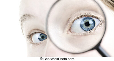 Eye looking thorough magnifying glass - Female blue eye ...