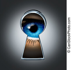 Eye looking through a keyhole representing the privacy and security concept of spying and secrecy of private content from surveillance with a blue human eyeball behind a door in the shadows.