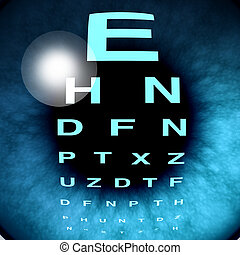 Eye macro vision and eyesight for healthy eyes with good ocular focus using an eye chart to help focus for near sighted and far sighted retina and lense diagnosis from an optometrist from the department of ophthalmology.