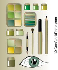 Eye make-up greens.