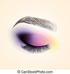Eye makeup. Closed eye with long eyelashes.