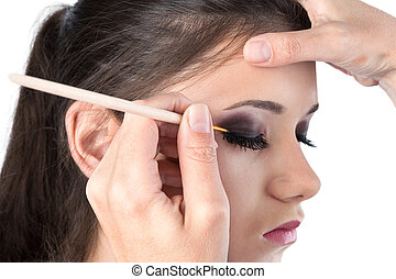 eye makeup on white background