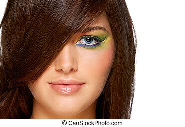 Eye makeup - Close-up of gorgeous female with bright makeup...