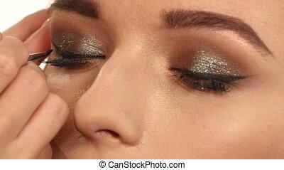 Perfect makeup. Beauty fashion. Eyelashes. Cosmetic Eyeshadow. close up