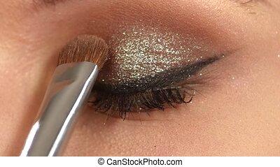 Beauty fashion. Eyelashes. Cosmetic Eyeshadow. close up....