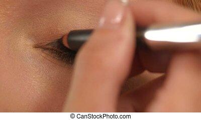 Eye makeup woman applying eyeshadow powder, Close up