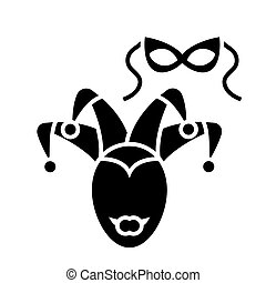 eye mask - masquerade icon, vector illustration, black sign on isolated background