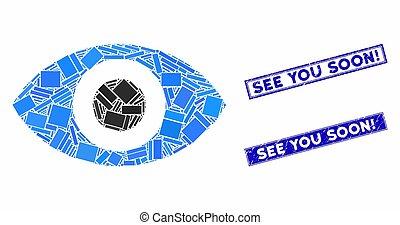 Eye Mosaic and Distress Rectangle See You Soon! Seals - ...
