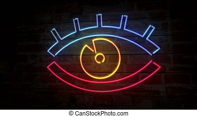 Eye neon icon on brick wall - Eye neon modern symbol on...
