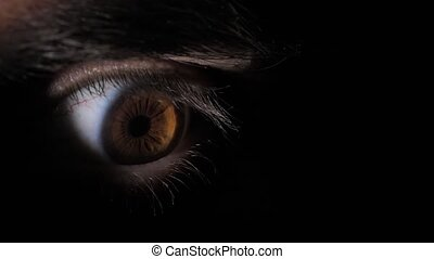Eye of a scared man in the dark