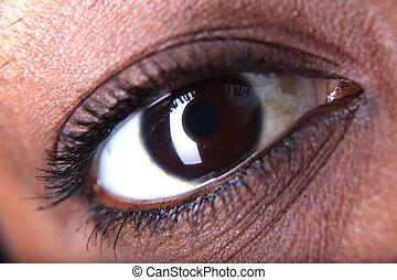 eye of afro american woman