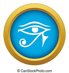 Eye of Horus Egypt Deity icon blue isolated on white background for any design