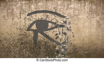 Eye of horus falls out of an old wall - An animation of the...