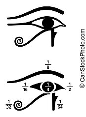 Eye of Horus fractions values black and white
