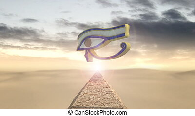Eye of horus rotating above a piramid - An animation of the...