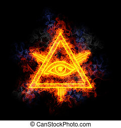 Eye of Providence, covered in flames. The font is Lucida...