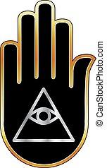 Eye of Providence in hand- religious symbol