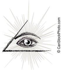 Eye of providence sketch - Masonic symbol - All seeing eye ...
