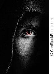 Eye of spooky man