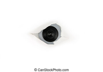 eye of spy, web cam behind a paper hole