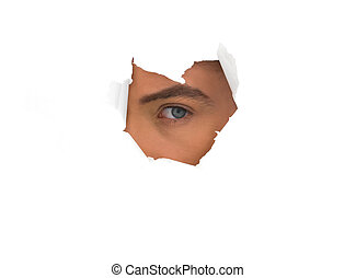 eye of the man in the paper hole