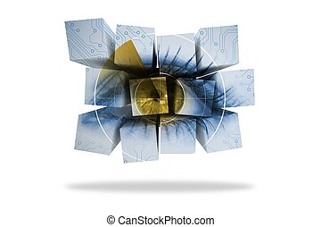 Eye on abstract screen