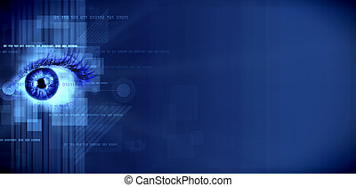 Eye on technology background. - Human eye on technology...