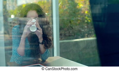 Eye Opener - Portrait of gorgeous young lady drinking coffee...